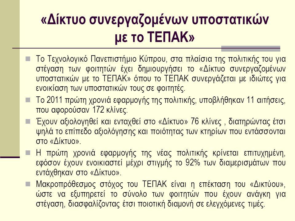 «Δίκτυο συνεργαζομένων υποστατικών με το ΤΕΠΑΚ»  Το Τεχνολογικό Πανεπιστήμιο Κύπρου, στα πλαίσια της πολιτικής του για στέγαση των φοιτητών έχει δημι