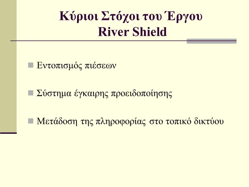 Κύριοι Στόχοι του Έργου River Shield  Εντοπισμός πιέσεων  Σύστημα έγκαιρης προειδοποίησης  Μετάδοση της πληροφορίας στο τοπικό δικτύου