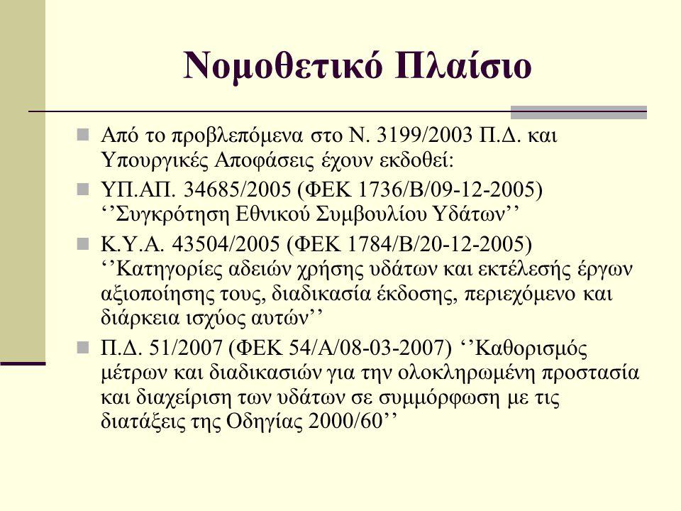 Νομοθετικό Πλαίσιο  Από το προβλεπόμενα στο Ν. 3199/2003 Π.Δ. και Υπουργικές Αποφάσεις έχουν εκδοθεί:  YΠ.ΑΠ. 34685/2005 (ΦΕΚ 1736/Β/09-12-2005) ''Σ