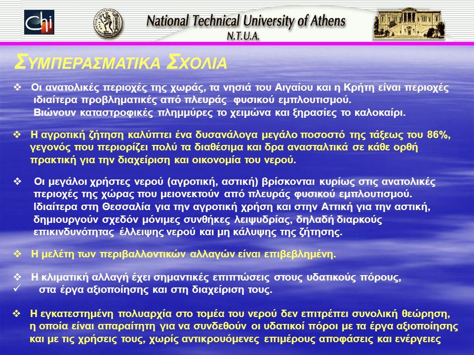 Σ ΥΜΠΕΡΑΣΜΑΤΙΚΑ Σ ΧΟΛΙΑ  Οι ανατολικές περιοχές της χωράς, τα νησιά του Αιγαίου και η Κρήτη είναι περιοχές ιδιαίτερα προβληματικές από πλευράς φυσικο