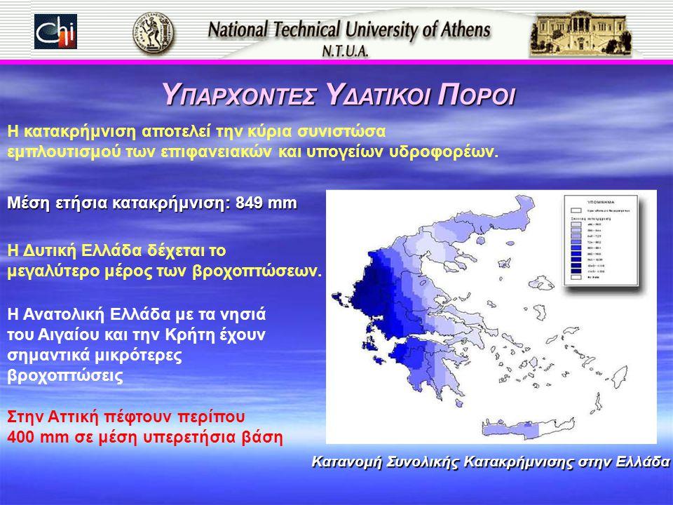 Κατανομή Συνολικής Κατακρήμνισης στην Ελλάδα Υ ΠΑΡΧΟΝΤΕΣ Υ ΔΑΤΙΚΟΙ Π ΟΡΟΙ Μέση ετήσια κατακρήμνιση: 849 mm Η Δυτική Ελλάδα δέχεται το μεγαλύτερο μέρος