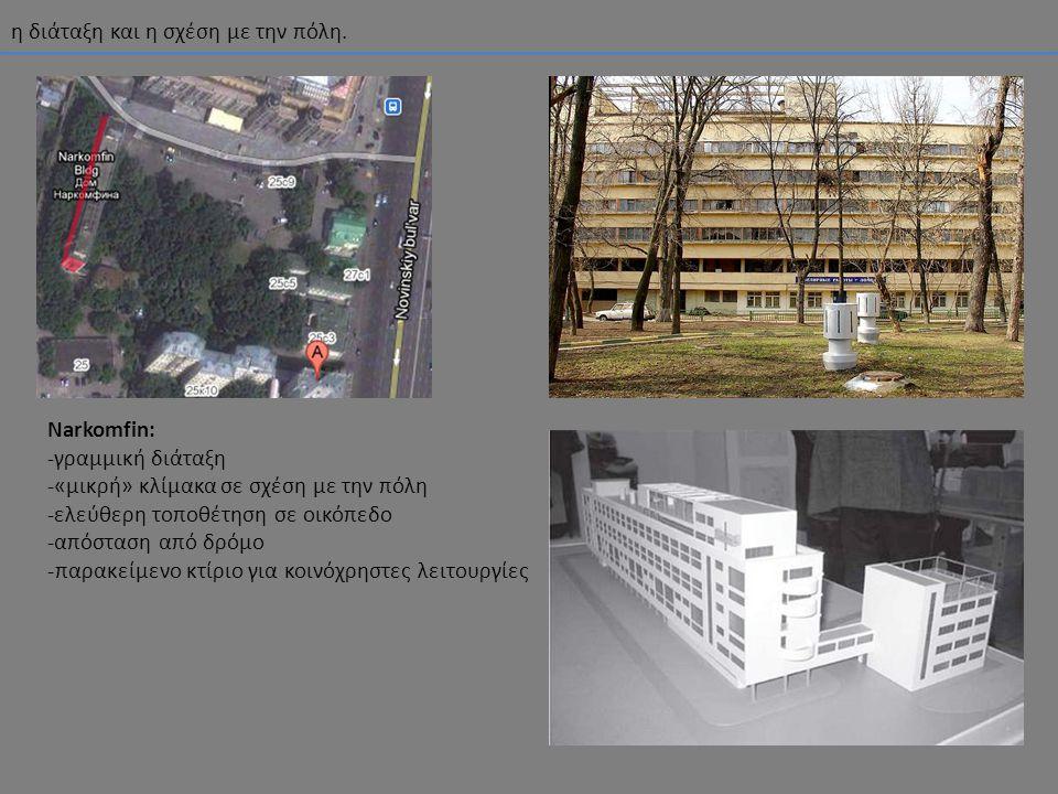 η διάταξη και η σχέση με την πόλη. Narkomfin: -γραμμική διάταξη -«μικρή» κλίμακα σε σχέση με την πόλη -ελεύθερη τοποθέτηση σε οικόπεδο -απόσταση από δ