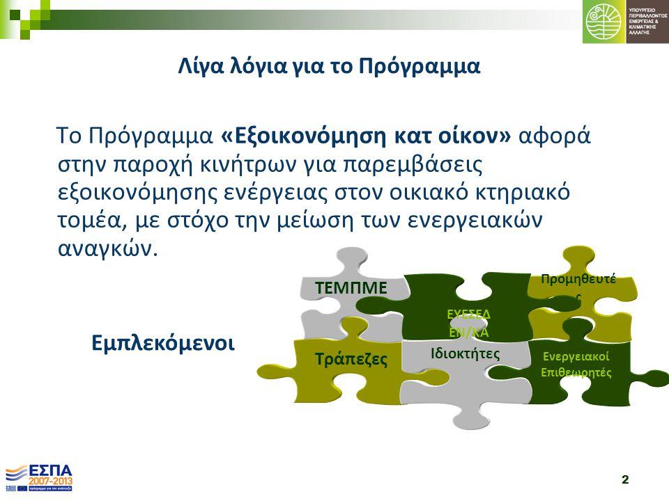 2 Το Πρόγραμμα «Εξοικονόμηση κατ οίκον» αφορά στην παροχή κινήτρων για παρεμβάσεις εξοικονόμησης ενέργειας στον οικιακό κτηριακό τομέα, με στόχο την μ