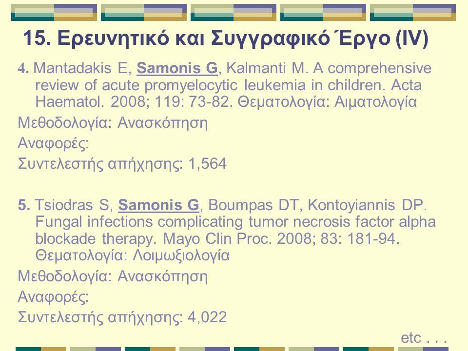 15.Ερευνητικό και Συγγραφικό Έργο (V) Πατέντες φαρμάκων 1.