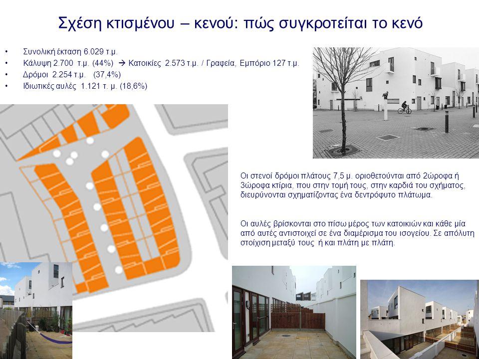 Τυπολογίες κτιρίων: οργάνωση των κινήσεων, συνδυασμός των μονάδων κατοικίας, σχέση ιδιωτικού και συλλογικού – δημόσιου Κάθε πτυχή του σχεδίου έχει διαμορφωθεί για να ενισχύσει τον πολύβουο χαρακτήρα του δημόσιου χώρου.