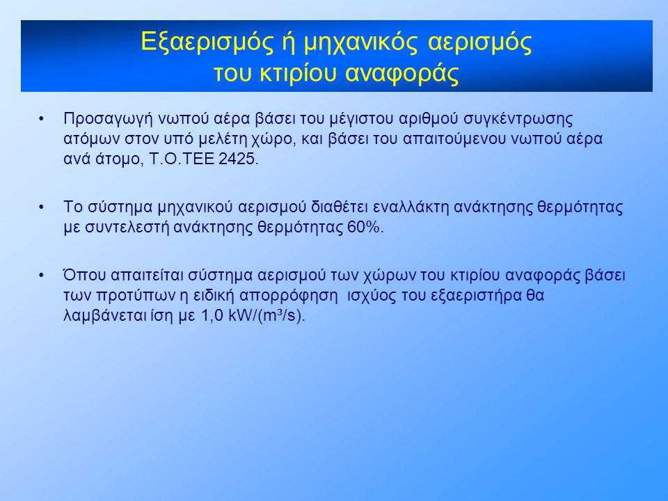 •Προσαγωγή νωπού αέρα βάσει του μέγιστου αριθμού συγκέντρωσης ατόμων στον υπό μελέτη χώρο, και βάσει του απαιτούμενου νωπού αέρα ανά άτομο, Τ.Ο.ΤΕΕ 24