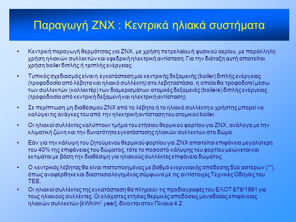 •Κεντρική παραγωγή θερμότητας για ΖΝΧ, με χρήση πετρελαίου ή φυσικού αερίου, με παράλληλη χρήση ηλιακών συλλεκτών και εφεδρική ηλεκτρική αντίσταση. Γι