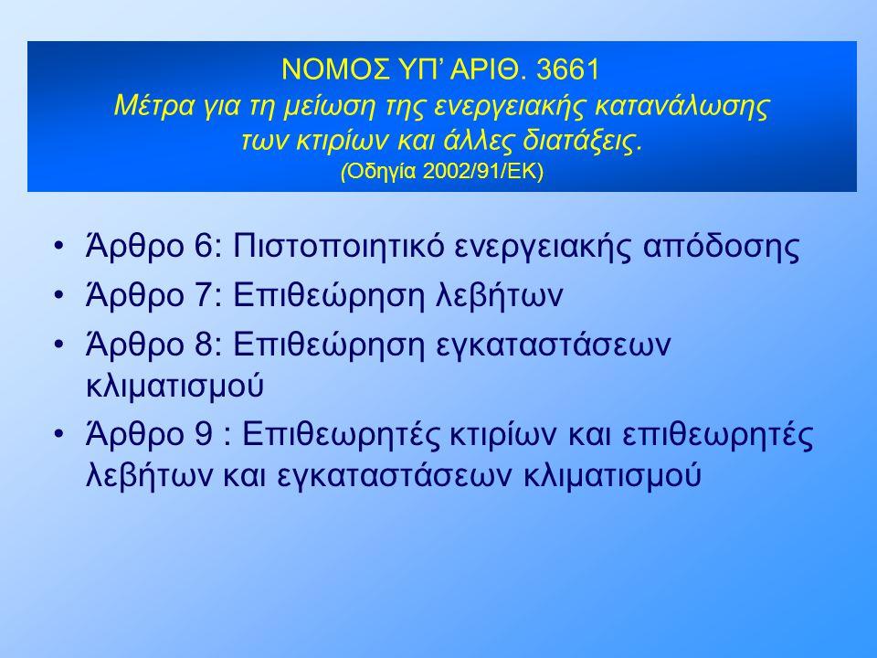 NOMOΣ ΥΠ' ΑΡΙΘ. 3661 Μέτρα για τη μείωση της ενεργειακής κατανάλωσης των κτιρίων και άλλες διατάξεις. (Οδηγία 2002/91/ΕΚ) •Άρθρο 6: Πιστοποιητικό ενερ