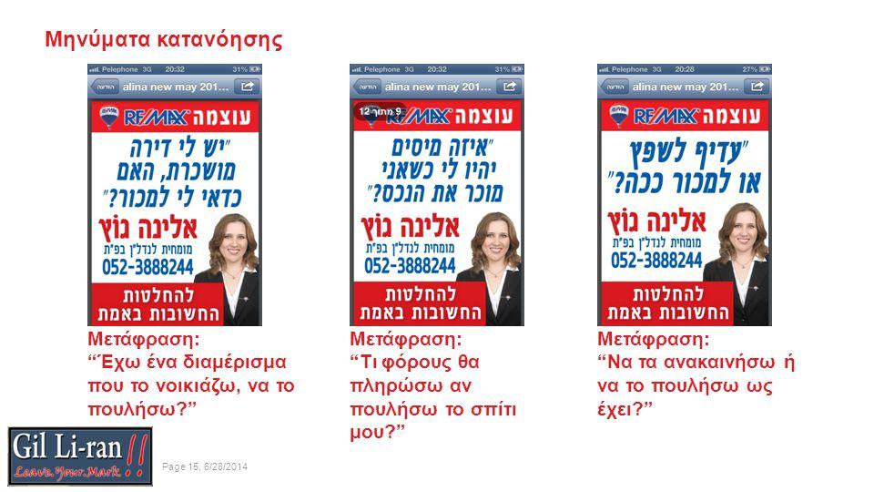 Μηνύματα κατανόησης Page 15, 6/28/2014 Μετάφραση: Έχω ένα διαμέρισμα που το νοικιάζω, να το πουλήσω Μετάφραση: Τι φόρους θα πληρώσω αν πουλήσω το σπίτι μου Μετάφραση: Να τα ανακαινήσω ή να το πουλήσω ως έχει