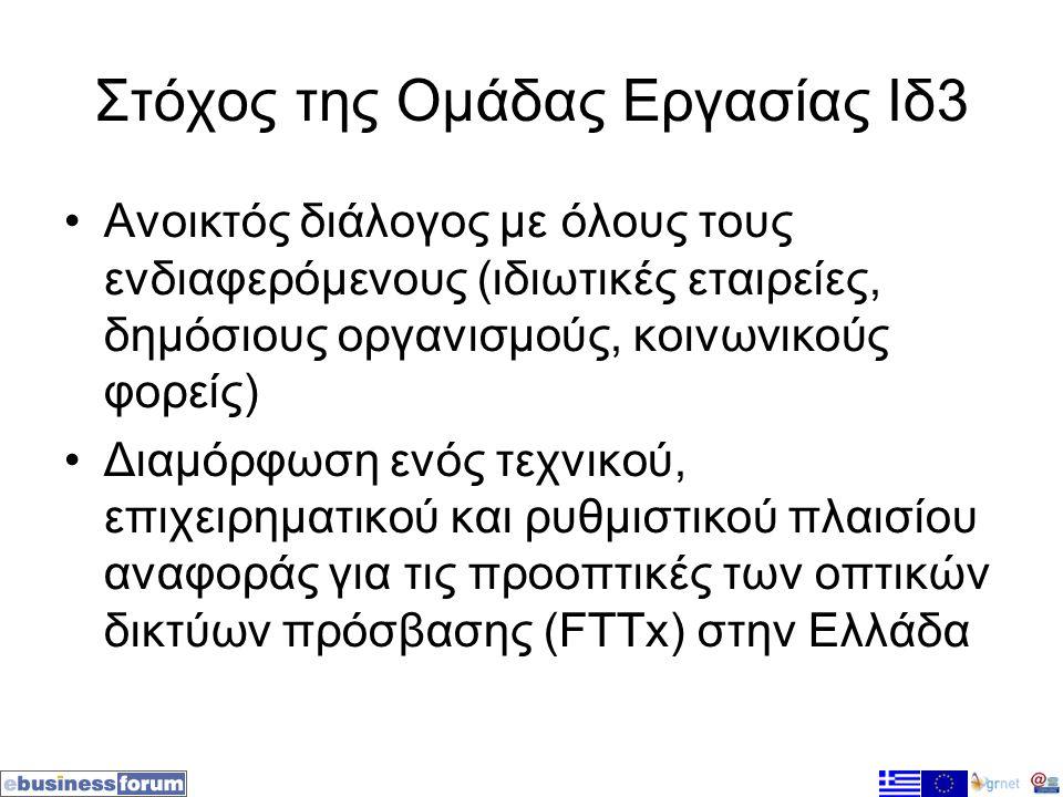 Στόχος της Ομάδας Εργασίας Ιδ3 •Ανοικτός διάλογος με όλους τους ενδιαφερόμενους (ιδιωτικές εταιρείες, δημόσιους οργανισμούς, κοινωνικούς φορείς) •Διαμόρφωση ενός τεχνικού, επιχειρηματικού και ρυθμιστικού πλαισίου αναφοράς για τις προοπτικές των οπτικών δικτύων πρόσβασης (FTTx) στην Ελλάδα