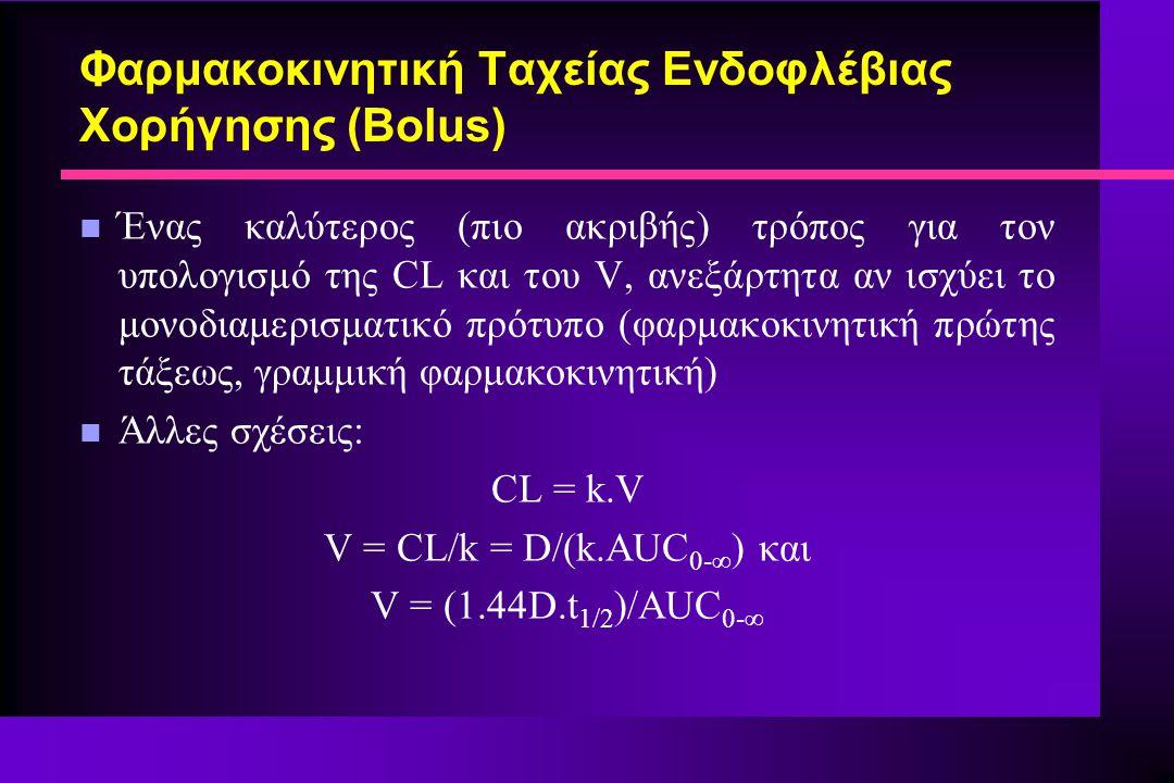 Φαρμακοκινητική Ταχείας Ενδοφλέβιας Χορήγησης (Bolus) n Ένας καλύτερος (πιο ακριβής) τρόπος για τον υπολογισμό της CL και του V, ανεξάρτητα αν ισχύει