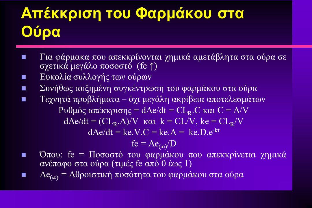 Απέκκριση του Φαρμάκου στα Ούρα n Για φάρμακα που απεκκρίνονται χημικά αμετάβλητα στα ούρα σε σχετικά μεγάλο ποσοστό (fe ↑) n Ευκολία συλλογής των ούρων n Συνήθως αυξημένη συγκέντρωση του φαρμάκου στα ούρα n Τεχνητά προβλήματα – όχι μεγάλη ακρίβεια αποτελεσμάτων Ρυθμός απέκκρισης = dAe/dt = CL R.C και C = A/V dAe/dt = (CL R.A)/V και k = CL/V, ke = CL R /V dAe/dt = ke.V.C = ke.A = ke.D.e -kt fe = Ae (∞) /D n Όπου: fe = Ποσοστό του φαρμάκου που απεκκρίνεται χημικά ανέπαφο στα ούρα (τιμές fe από 0 έως 1) n Ae (∞) = Αθροιστική ποσότητα του φαρμάκου στα ούρα