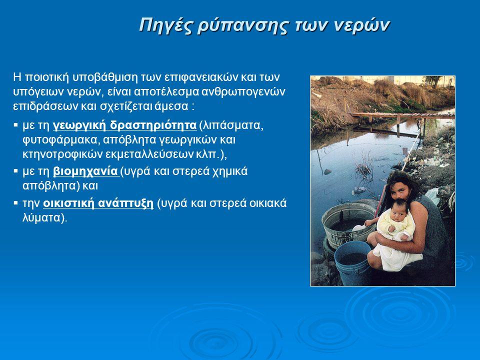 Πηγές ρύπανσης των νερών  με τη γεωργική δραστηριότητα (λιπάσματα, φυτοφάρμακα, απόβλητα γεωργικών και κτηνοτροφικών εκμεταλλεύσεων κλπ.),  με τη βι