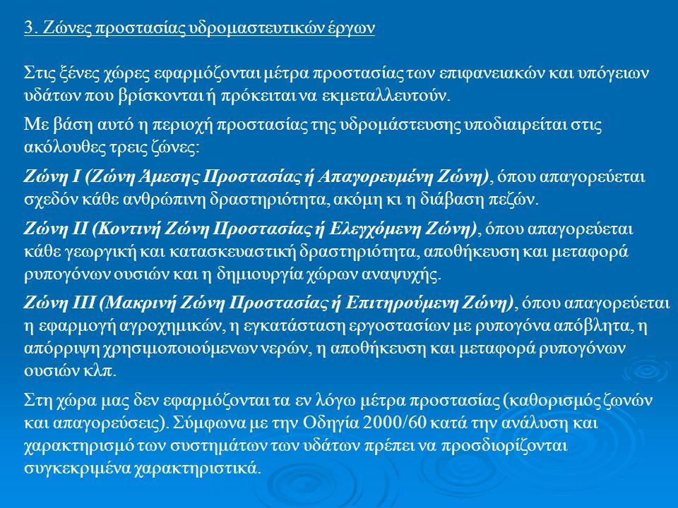 3. Ζώνες προστασίας υδρομαστευτικών έργων Στις ξένες χώρες εφαρμόζονται μέτρα προστασίας των επιφανειακών και υπόγειων υδάτων που βρίσκονται ή πρόκειτ