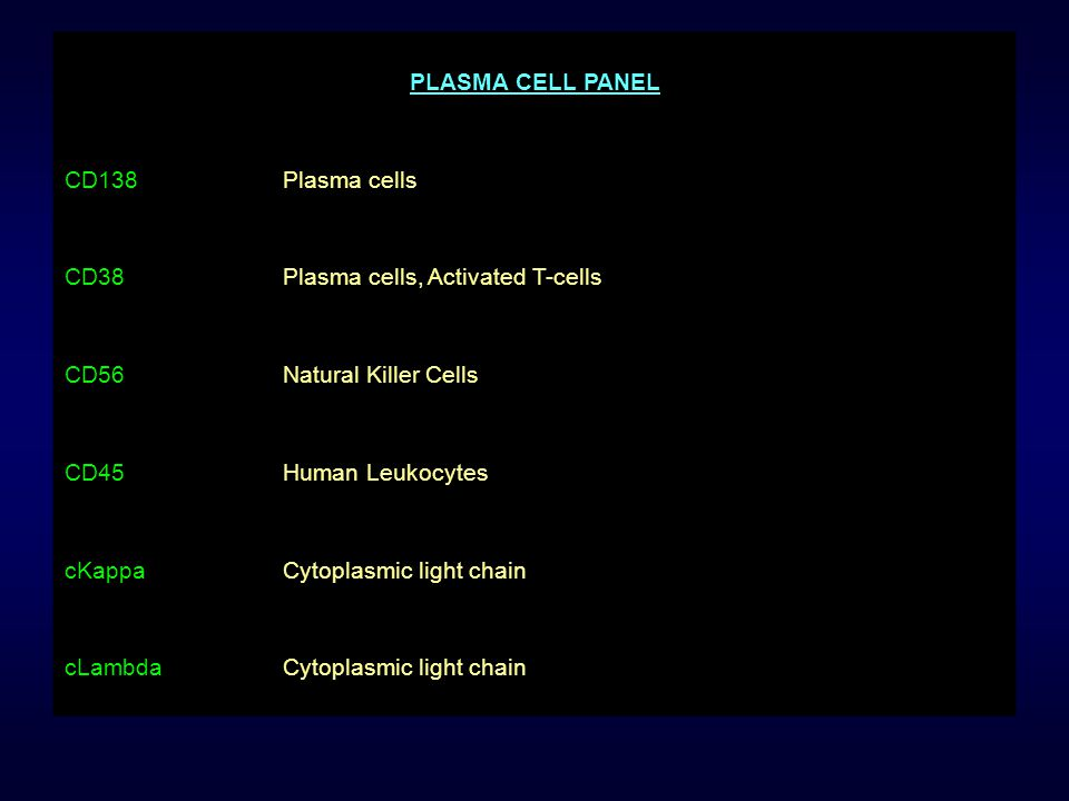 PLASMA CELL PANEL CD138Plasma cells CD38Plasma cells, Activated T-cells CD56Natural Killer Cells CD45Human Leukocytes cKappaCytoplasmic light chain cL