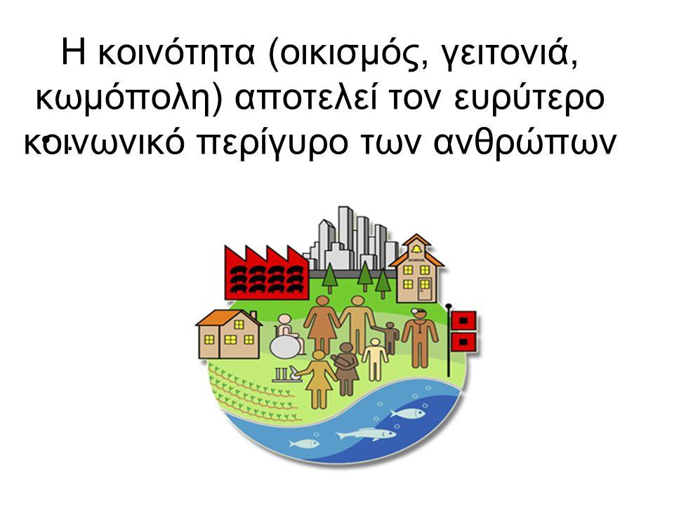 Η κοινότητα (οικισµός, γειτονιά, κωμόπολη) αποτελεί τον ευρύτερο κοινωνικό περίγυρο των ανθρώπων •.•.