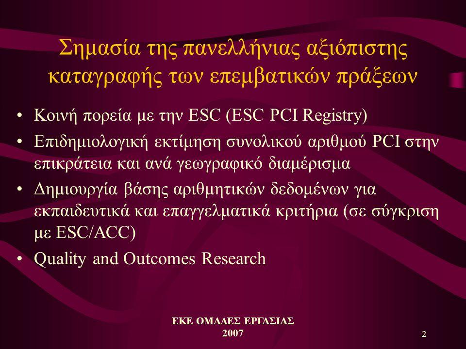 ΕΚΕ ΟΜΑΔΕΣ ΕΡΓΑΣΙΑΣ 2007 2 Σημασία της πανελλήνιας αξιόπιστης καταγραφής των επεμβατικών πράξεων •Κοινή πορεία με την ESC (ESC PCI Registry) •Επιδημιολογική εκτίμηση συνολικού αριθμού PCI στην επικράτεια και ανά γεωγραφικό διαμέρισμα •Δημιουργία βάσης αριθμητικών δεδομένων για εκπαιδευτικά και επαγγελματικά κριτήρια (σε σύγκριση με ESC/ACC) •Quality and Outcomes Research