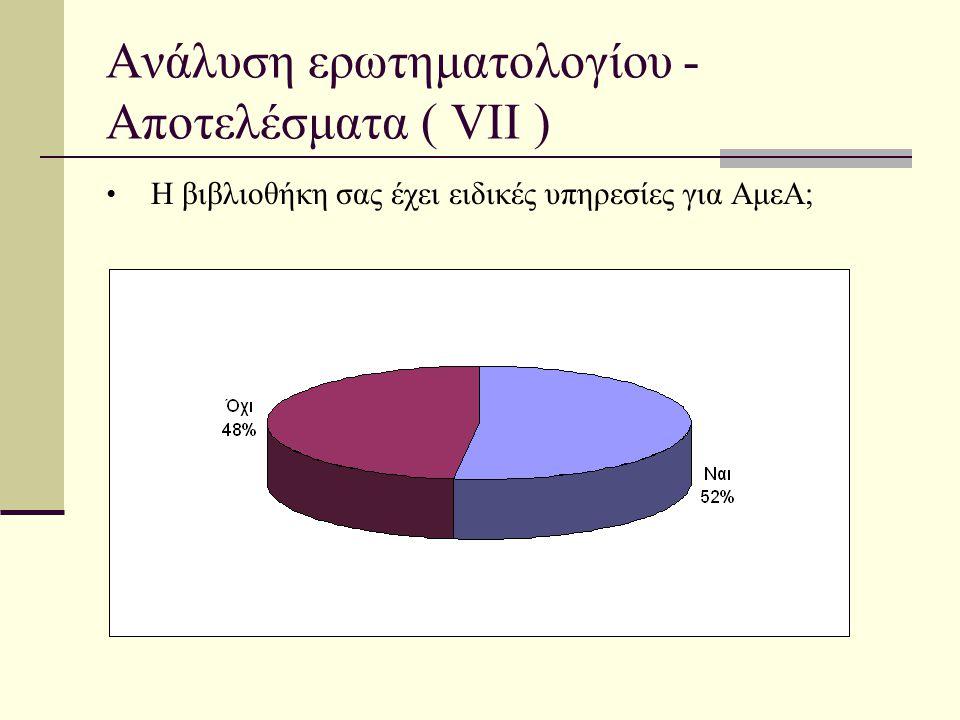 Ανάλυση ερωτηματολογίου - Αποτελέσματα ( VII ) • Η βιβλιοθήκη σας έχει ειδικές υπηρεσίες για ΑμεΑ;