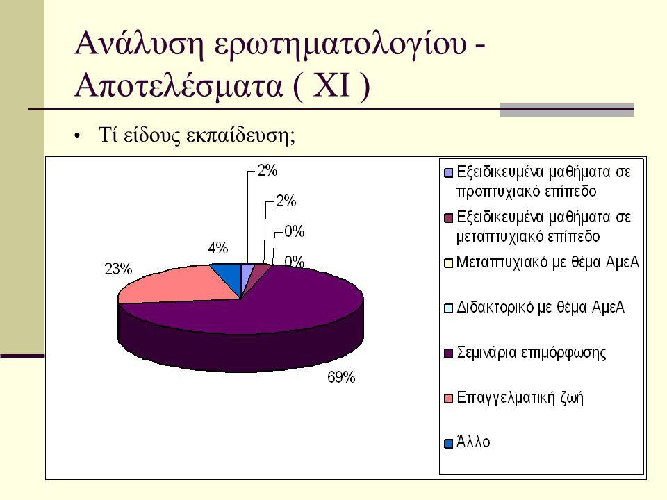 Ανάλυση ερωτηματολογίου - Αποτελέσματα ( ΧI ) • Τί είδους εκπαίδευση;