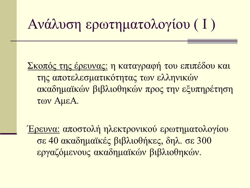 Ανάλυση ερωτηματολογίου ( Ι ) Σκοπός της έρευνας: η καταγραφή του επιπέδου και της αποτελεσματικότητας των ελληνικών ακαδημαϊκών βιβλιοθηκών προς την