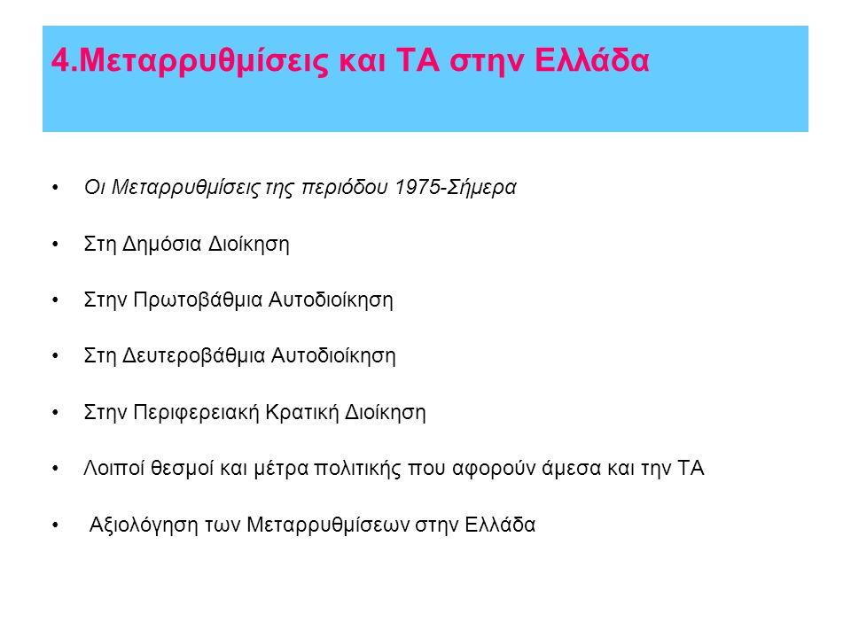 4.Μεταρρυθμίσεις και ΤΑ στην Ελλάδα •Οι Μεταρρυθμίσεις της περιόδου 1975-Σήμερα •Στη Δημόσια Διοίκηση •Στην Πρωτοβάθμια Αυτοδιοίκηση •Στη Δευτεροβάθμια Αυτοδιοίκηση •Στην Περιφερειακή Κρατική Διοίκηση •Λοιποί θεσμοί και μέτρα πολιτικής που αφορούν άμεσα και την ΤΑ • Αξιολόγηση των Μεταρρυθμίσεων στην Ελλάδα