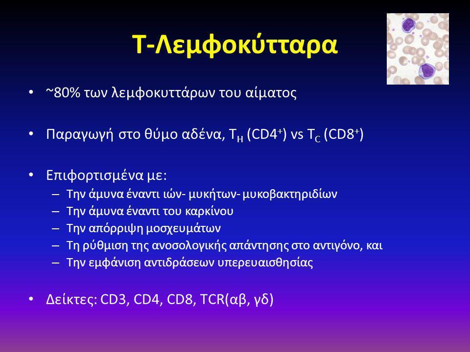 Τ-Λεμφοκύτταρα • ~80% των λεμφοκυττάρων του αίματος • Παραγωγή στο θύμο αδένα, Τ H (CD4 + ) vs T C (CD8 + ) • Επιφορτισμένα με: – Την άμυνα έναντι ιών- μυκήτων- μυκοβακτηριδίων – Την άμυνα έναντι του καρκίνου – Την απόρριψη μοσχευμάτων – Τη ρύθμιση της ανοσολογικής απάντησης στο αντιγόνο, και – Την εμφάνιση αντιδράσεων υπερευαισθησίας • Δείκτες: CD3, CD4, CD8, ΤCR(αβ, γδ)