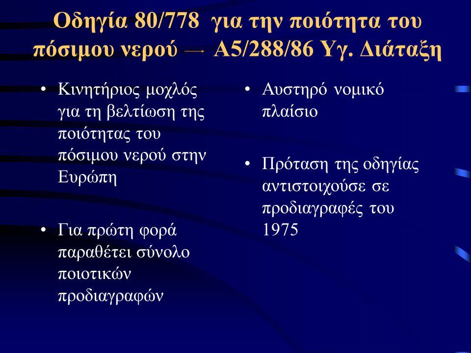 Οδηγία 98/83 ΕΚ για την ποιότητα του νερού ανθρώπινης κατανάλωσης ΚΥΑ 2600/01 •Ανάγκη αναθεώρησης: •προσαρμογή στην τεχνολογική πρόοδο •Στόχοι της πρότασης οδηγίας: •Υψηλής στάθμης προστασία της ανθρώπινης υγείας •Βιώσιμη κοινωνική και οικονομική ανάπτυξη