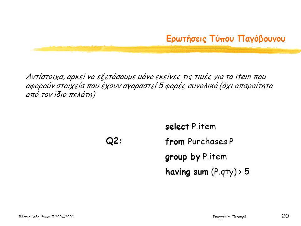 Βάσεις Δεδομένων ΙΙ 2004-2005 Ευαγγελία Πιτουρά 20 Ερωτήσεις Τύπου Παγόβουνου select P.item from Purchases P group by P.item having sum (P.qty) > 5 Q2