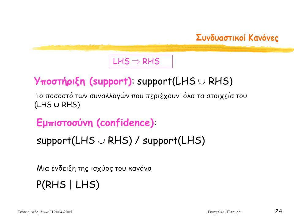 Βάσεις Δεδομένων ΙΙ 2004-2005 Ευαγγελία Πιτουρά 24 Συνδυαστικοί Κανόνες LHS  RHS Υποστήριξη (support): support(LHS  RHS) Το ποσοστό των συναλλαγών π