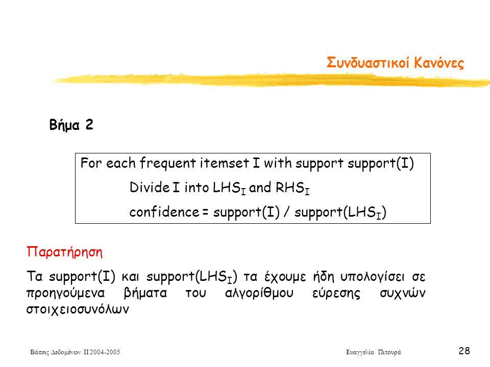 Βάσεις Δεδομένων ΙΙ 2004-2005 Ευαγγελία Πιτουρά 28 Συνδυαστικοί Κανόνες For each frequent itemset I with support support(I) Divide I into LHS I and RH