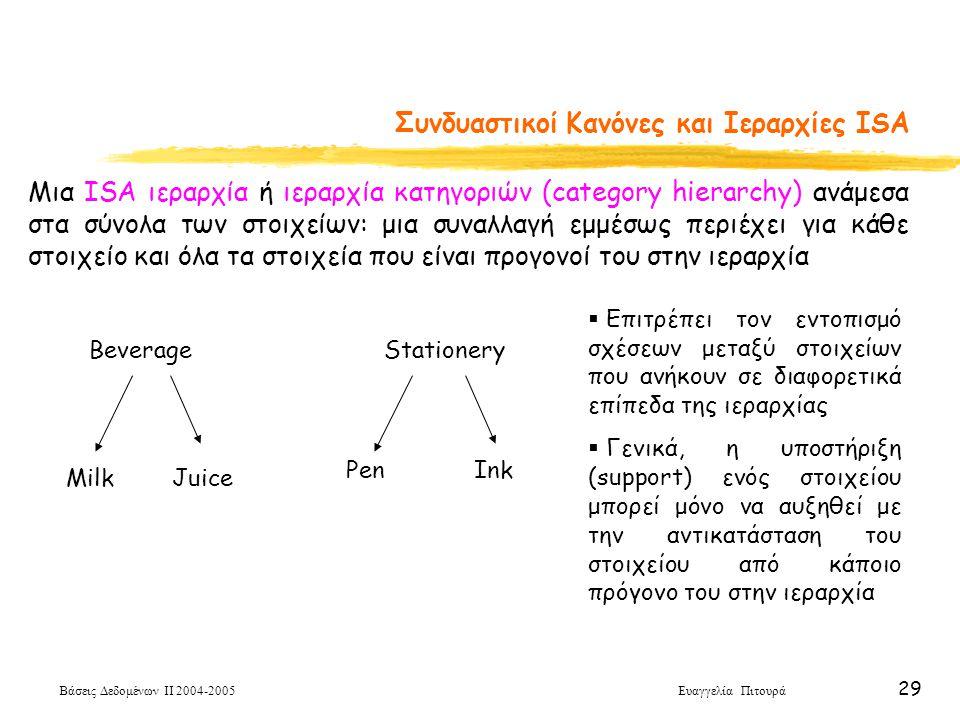 Βάσεις Δεδομένων ΙΙ 2004-2005 Ευαγγελία Πιτουρά 29 Συνδυαστικοί Κανόνες και Ιεραρχίες ISA Μια ISA ιεραρχία ή ιεραρχία κατηγοριών (category hierarchy)