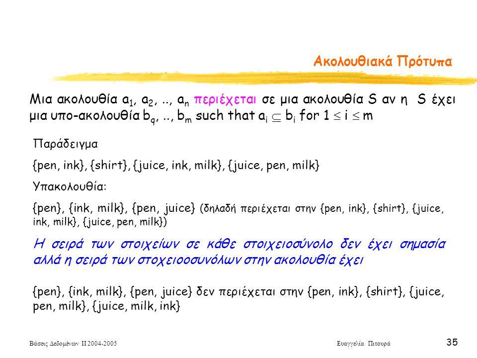 Βάσεις Δεδομένων ΙΙ 2004-2005 Ευαγγελία Πιτουρά 35 Ακολουθιακά Πρότυπα Μια ακολουθία a 1, a 2,.., a n περιέχεται σε μια ακολουθία S αν η S έχει μια υπ