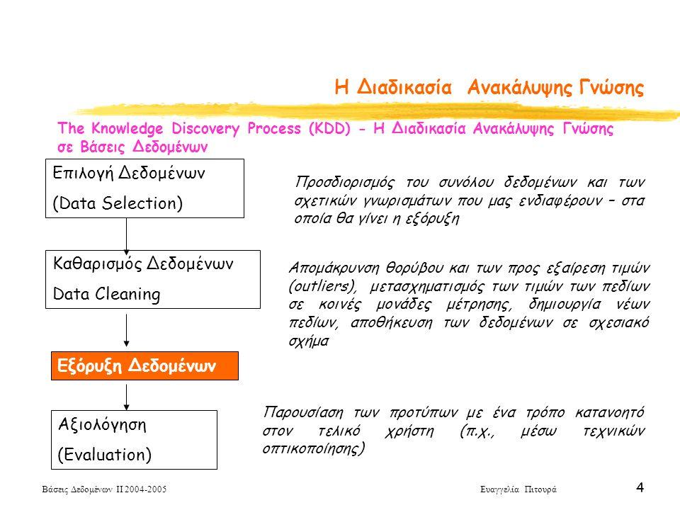 Βάσεις Δεδομένων ΙΙ 2004-2005 Ευαγγελία Πιτουρά 55 Δενδρικοί Κανόνες Input: κόμβος n, διαμέρισμα D, μέθοδος επιλογής διαχωρισμού S Output: δέντρο απόφασης για το D με ρίζα τον κόμβο n Top down Decision Tree Induction Schema BuildTree(node n, partition D, method S) Apply S to D to find the splitting criterion If (a good splitting criterion is found) create two children nodes n1 and n2 of n partition D into D1 and D2 BuildTree(n1, D1, S) Build Tree(n2, D2, S)