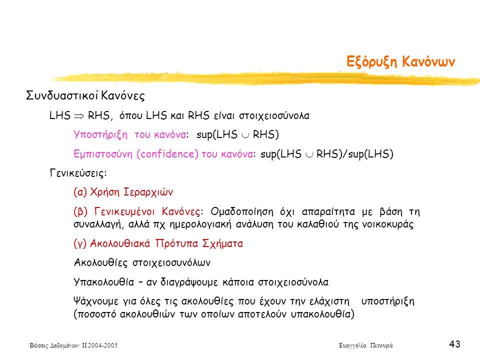 Βάσεις Δεδομένων ΙΙ 2004-2005 Ευαγγελία Πιτουρά 43 Εξόρυξη Κανόνων Συνδυαστικοί Κανόνες LHS  RHS, όπου LHS και RHS είναι στοιχειοσύνολα Υποστήριξη το