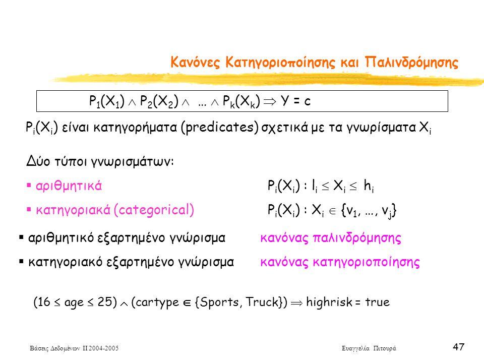 Βάσεις Δεδομένων ΙΙ 2004-2005 Ευαγγελία Πιτουρά 47 Κανόνες Κατηγοριοποίησης και Παλινδρόμησης P 1 (X 1 )  P 2 (X 2 )  …  P k (X k )  Y = c P i (X