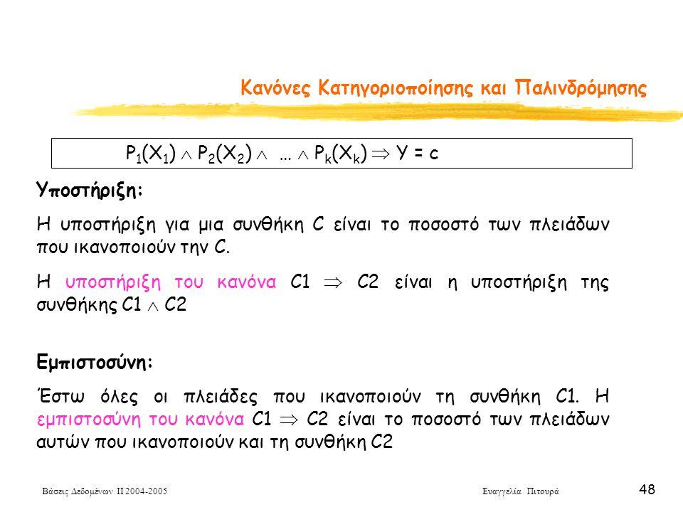 Βάσεις Δεδομένων ΙΙ 2004-2005 Ευαγγελία Πιτουρά 48 Κανόνες Κατηγοριοποίησης και Παλινδρόμησης P 1 (X 1 )  P 2 (X 2 )  …  P k (X k )  Y = c Υποστήρ
