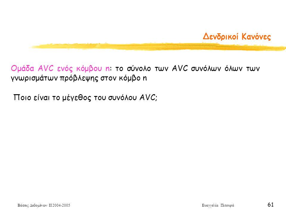 Βάσεις Δεδομένων ΙΙ 2004-2005 Ευαγγελία Πιτουρά 61 Δενδρικοί Κανόνες Ποιο είναι το μέγεθος του συνόλου AVC; Ομάδα AVC ενός κόμβου n: το σύνολο των AVC