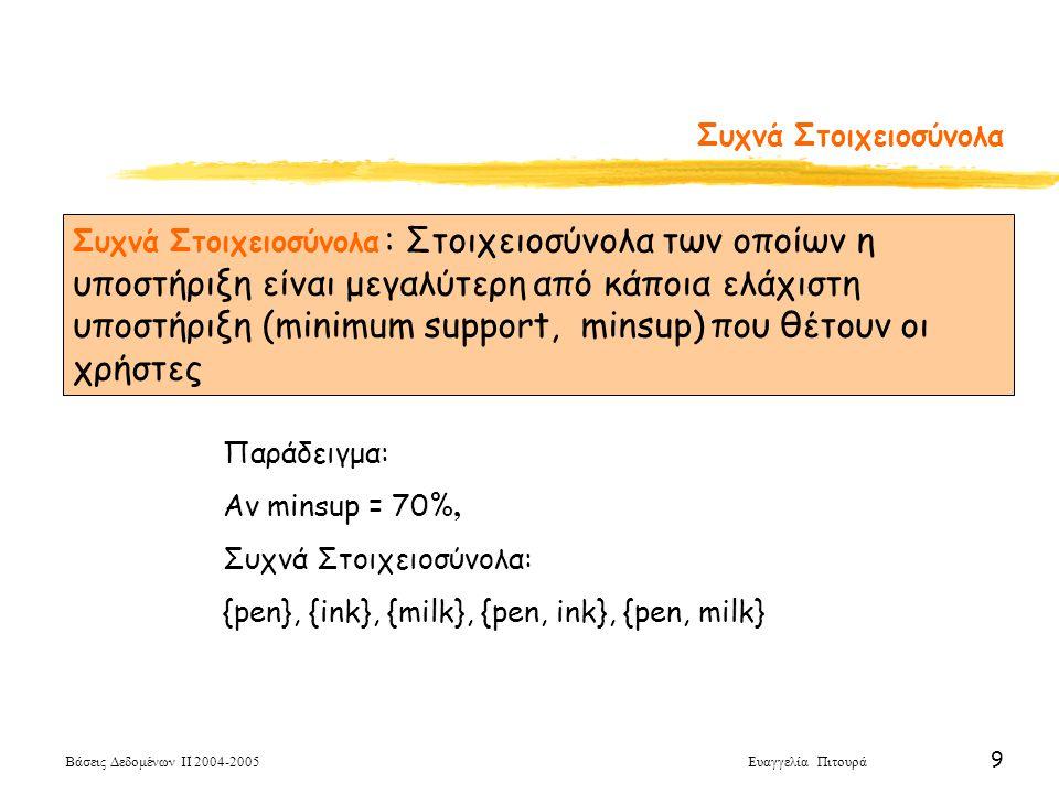 Βάσεις Δεδομένων ΙΙ 2004-2005 Ευαγγελία Πιτουρά 9 Συχνά Στοιχειοσύνολα Παράδειγμα: Αν minsup = 70%, Συχνά Στοιχειοσύνολα: {pen}, {ink}, {milk}, {pen,