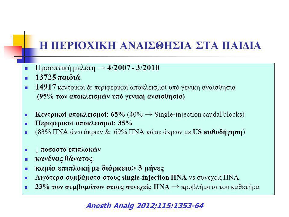 Η ΠΕΡΙΟΧΙΚΗ ΑΝΑΙΣΘΗΣΙΑ ΣΤΑ ΠΑΙΔΙΑ  Προοπτική μελέτη → 4/2007 - 3/2010  13725 παιδιά  14917 κεντρικοί & περιφερικοί αποκλεισμοί υπό γενική αναισθησί