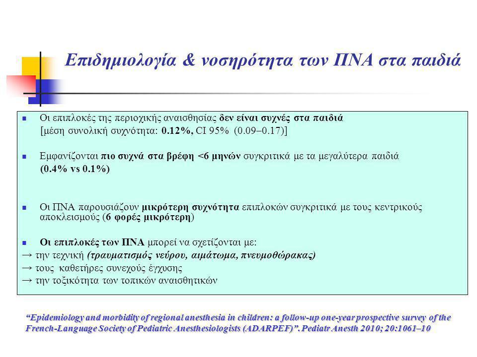 Επιδημιολογία & νοσηρότητα των ΠΝΑ στα παιδιά  Οι επιπλοκές της περιοχικής αναισθησίας δεν είναι συχνές στα παιδιά [μέση συνολική συχνότητα: 0.12%, C