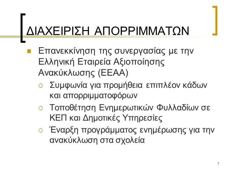 ΔΙΑΧΕΙΡΙΣΗ ΑΠΟΡΡΙΜΜΑΤΩΝ  Επανεκκίνηση της συνεργασίας με την Ελληνική Εταιρεία Αξιοποίησης Ανακύκλωσης (ΕΕΑΑ)  Συμφωνία για προμήθεια επιπλέον κάδων και απορριμματοφόρων  Τοποθέτηση Ενημερωτικών Φυλλαδίων σε ΚΕΠ και Δημοτικές Υπηρεσίες  Έναρξη προγράμματος ενημέρωσης για την ανακύκλωση στα σχολεία 7