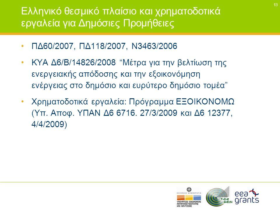 """13 Ελληνικό θεσμικό πλαίσιο και χρηματοδοτικά εργαλεία για Δημόσιες Προμήθειες •ΠΔ60/2007, ΠΔ118/2007, Ν3463/2006 •ΚΥΑ Δ6/Β/14826/2008 """"Μέτρα για την"""