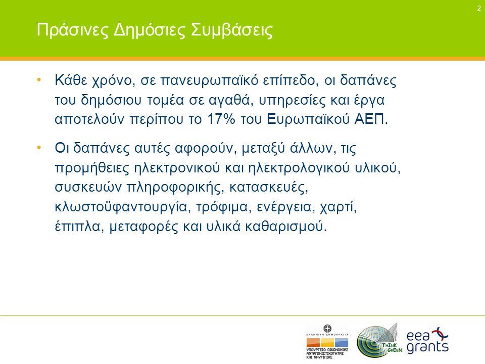 13 Ελληνικό θεσμικό πλαίσιο και χρηματοδοτικά εργαλεία για Δημόσιες Προμήθειες •ΠΔ60/2007, ΠΔ118/2007, Ν3463/2006 •ΚΥΑ Δ6/Β/14826/2008 Μέτρα για την βελτίωση της ενεργειακής απόδοσης και την εξοικονόμηση ενέργειας στο δημόσιο και ευρύτερο δημόσιο τομέα •Χρηματοδοτικά εργαλεία: Πρόγραμμα ΕΞΟΙΚΟΝΟΜΩ (Υπ.