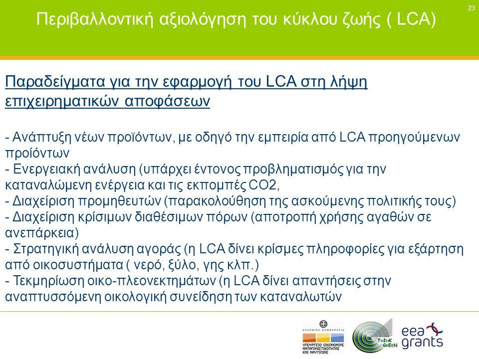 23 Περιβαλλοντική αξιολόγηση του κύκλου ζωής ( LCA) Παραδείγματα για την εφαρμογή του LCA στη λήψη επιχειρηματικών αποφάσεων - Ανάπτυξη νέων προϊόντων