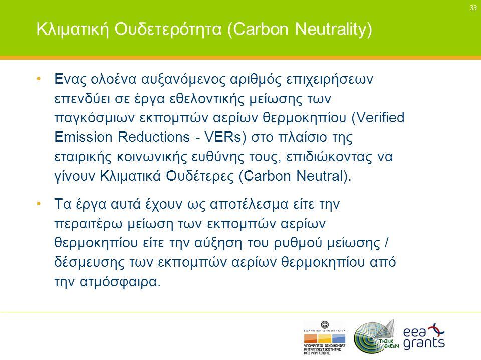33 Κλιματική Ουδετερότητα (Carbon Neutrality) •Ενας ολοένα αυξανόμενος αριθμός επιχειρήσεων επενδύει σε έργα εθελοντικής μείωσης των παγκόσμιων εκπομπ