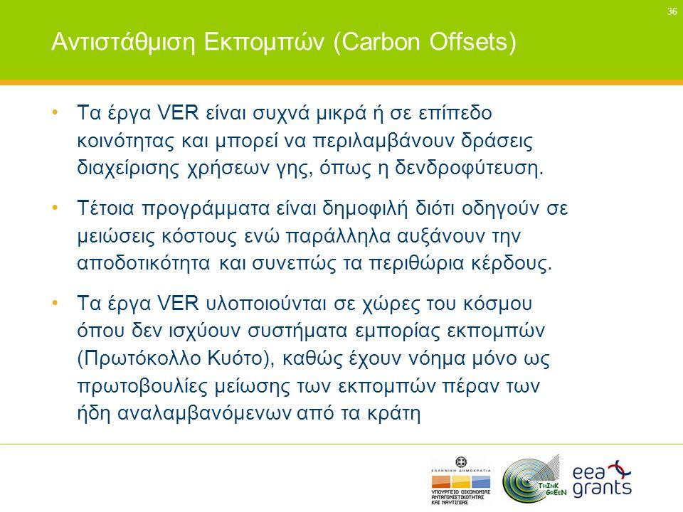 36 Αντιστάθμιση Εκπομπών (Carbon Offsets) •Τα έργα VER είναι συχνά μικρά ή σε επίπεδο κοινότητας και μπορεί να περιλαμβάνουν δράσεις διαχείρισης χρήσε