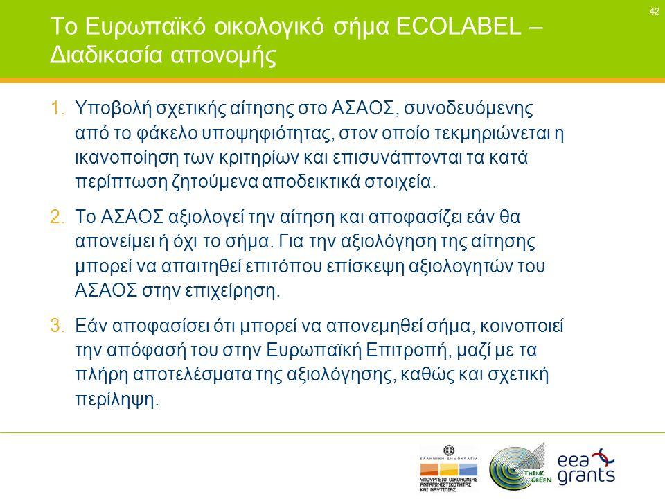 42 Το Ευρωπαϊκό οικολογικό σήμα ECOLABEL – Διαδικασία απονομής 1.Υποβολή σχετικής αίτησης στο ΑΣΑΟΣ, συνοδευόμενης από το φάκελο υποψηφιότητας, στον ο