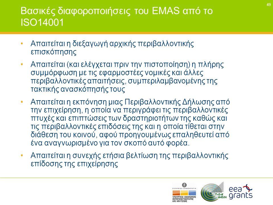 49 Βασικές διαφοροποιήσεις του EMAS από το ISO14001 •Απαιτείται η διεξαγωγή αρχικής περιβαλλοντικής επισκόπησης •Απαιτείται (και ελέγχεται πριν την πι