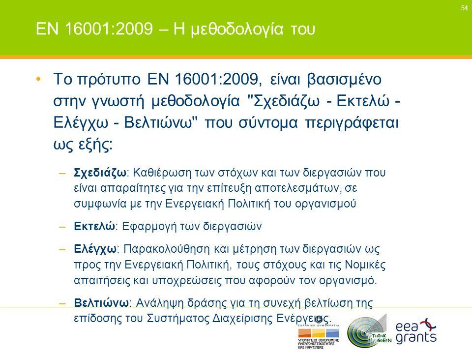 54 EN 16001:2009 – Η μεθοδολογία του •Το πρότυπο EN 16001:2009, είναι βασισμένο στην γνωστή μεθοδολογία ''Σχεδιάζω - Εκτελώ - Ελέγχω - Βελτιώνω'' που
