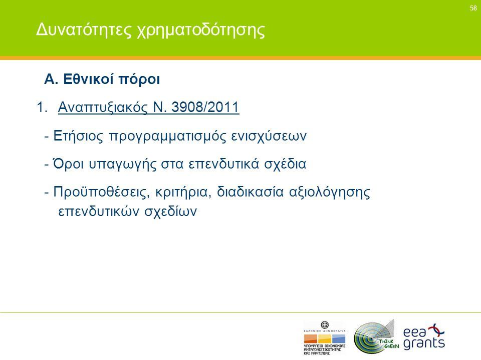 58 Δυνατότητες χρηματοδότησης Α. Εθνικοί πόροι 1.Αναπτυξιακός Ν. 3908/2011 - Ετήσιος προγραμματισμός ενισχύσεων - Όροι υπαγωγής στα επενδυτικά σχέδια